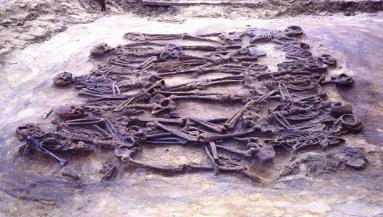 De zorgvuldig gerangschikte slachtoffers van het bloedbad in Wassenaar van vierduizend jaar geleden. Beeld reuters