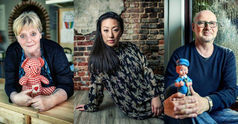 Marleen, Min Hee en Benoit.  Beeld Geert Van De Velde/Humo