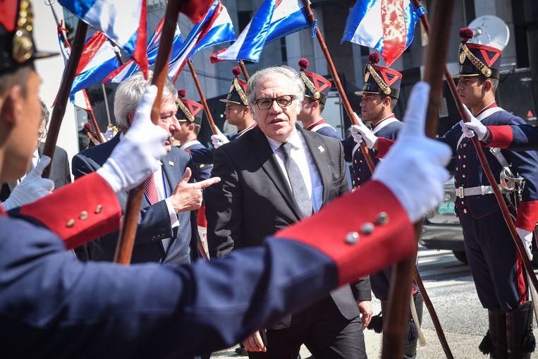 Luis Almagro, baas van de Organisatie van Amerikaanse Staten, twee weken geleden in Montevideo, waar hij de inhuldiging van de Uruguayaanse president Luis Lacalle Pou bijwoonde. Beeld Anadolu Agency via Getty Images
