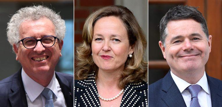 Ministers van Financiën: Pierre Gramegna (Luxemburg), Nadia Calviño (Spanje), Paschal Donohoe (Ierland)