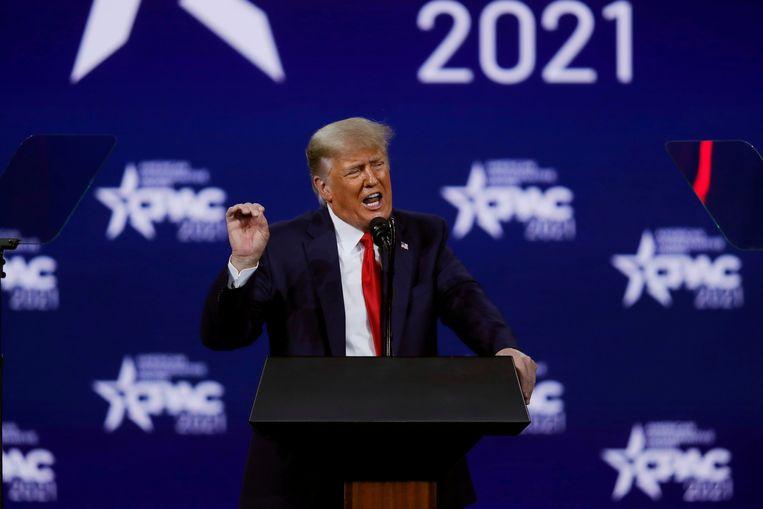 Donald Trump tijdens een Republikeinse bijeenkomst in Orlando. Beeld REUTERS