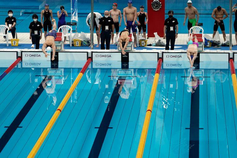 Japanse zwemmers tijdens een olympisch testevent voor de Paralympische Spelen.  Beeld AP