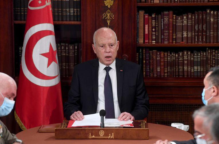 De Tunesische president Kaïs Saïed (63), die in 2019 als partijloos kandidaat verkozen werd. Beeld AP