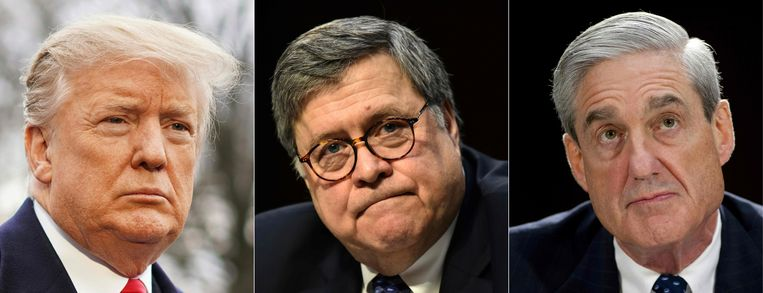 De Amerikaanse president Donald Trump, minister van justitie William Barr en speciaal aanklager Robert Muller. Beeld AFP