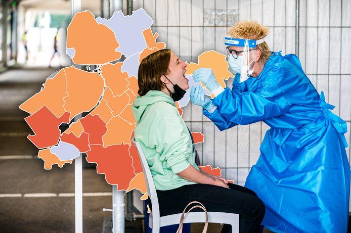 De coronakaart van Oost-Nederland van dinsdag 20 juli.