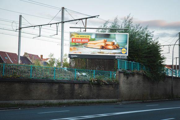 Het reclamebord van Lidl op de Heernislaan.