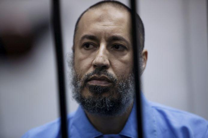 Archiefbeeld.  Saadi Kadhafi tijdens een zitting van de rechtbank in de Libische hoofdstad Tripoli. (07/02/2016)