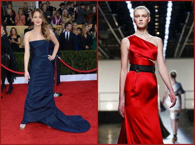 Kanshebber voor Jennifer Lawrence: rode Prabal Gurung-jurk.