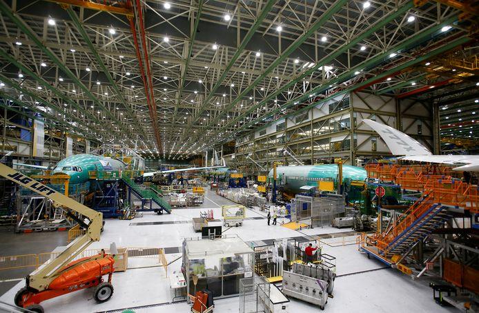 Een Boeing-fabriek in Everett, Washington in de VS.