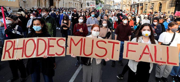 Demonstranten tijdens een protest op 9 juni Beeld AFP