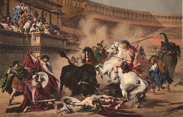 Verbeelding van een gladiatorengevecht. Beeld Getty Images
