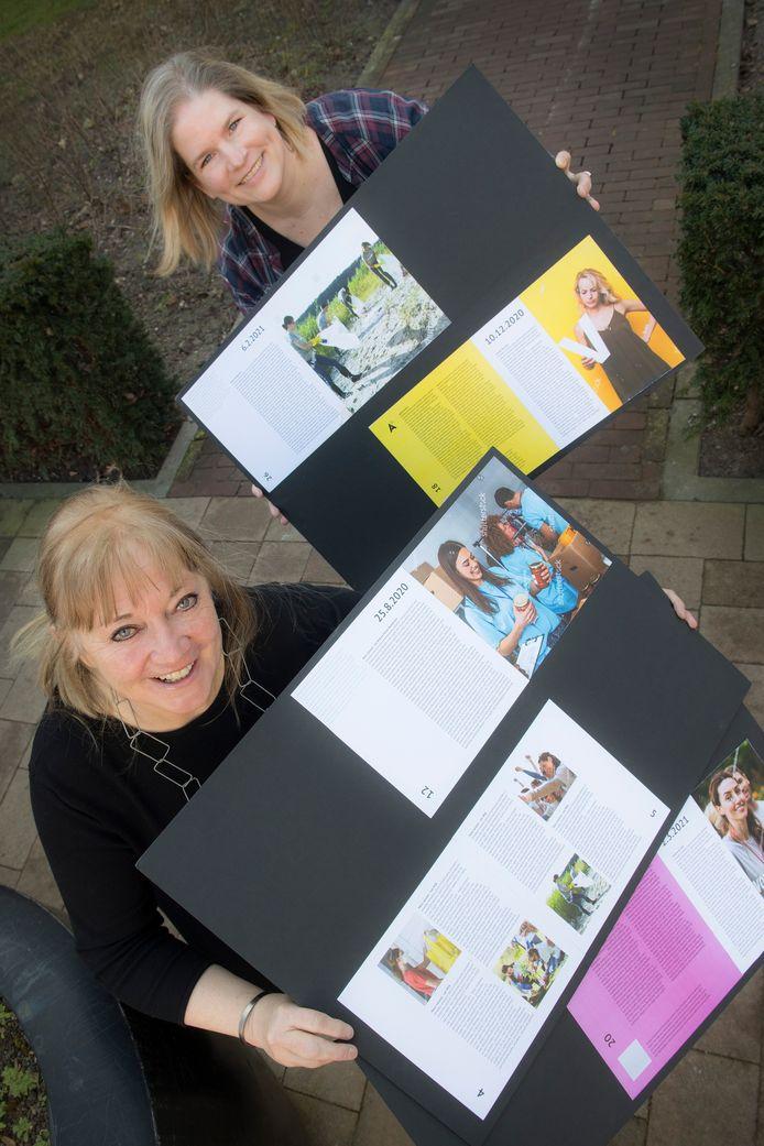 Uitgever Marie-Jan Ousen (vooraan) en Brenda Leenders, coördinator vrijwilligerswerk bij Mozaïek Welzijn, werken samen aan een boek over Tielse vrijwilligers.
