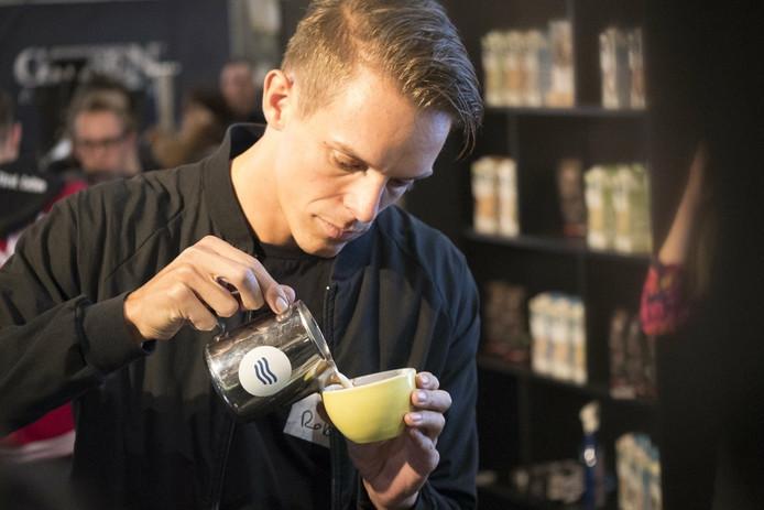 Rob Clarijs tijdens Coffee Masters, afgelopen weekend in Londen.