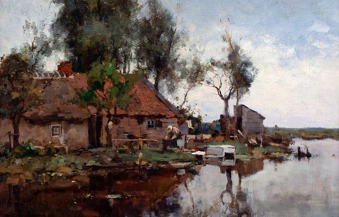 Foto ter illustratie. Een schilderij van Cornelis Vreedenburgh (1880-1946), Boerderijtje aan het water.