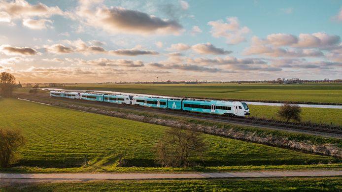 Zo zien de huidige WINK-treinen van Arriva eruit. Deze rijden sinds april 2021 in het noorden van Nederland.