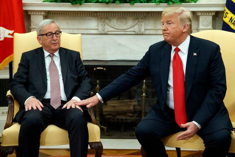 Jean-Claude Juncker en Donald Trump. Beeld AP