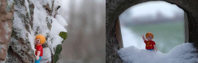 Playmobil-mannetje staat eenzaam in de sneeuw in natuurgebied Webbekombroek in Diest.