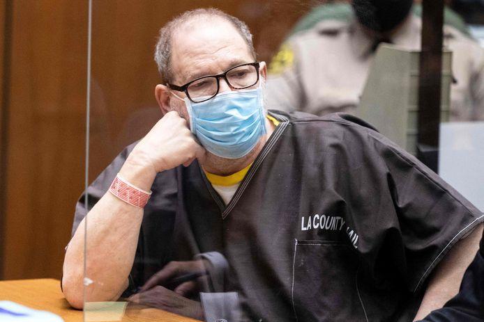Harvey Weinstein tijdens een hoorzitting in de rechtbank van Los Angeles. (29/07/2021)