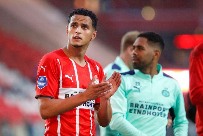 Mohamed Ihattaren en Phillipp Mwene na het duel met PAOK Saloniki van 14 juli.
