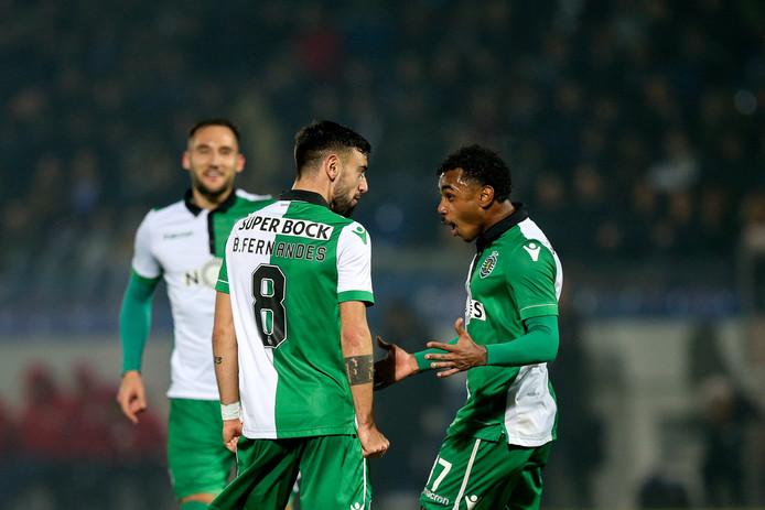 Bruno Fernandes en Wendel juichen, terwijl Nemanja Gudelj komt aangelopen.