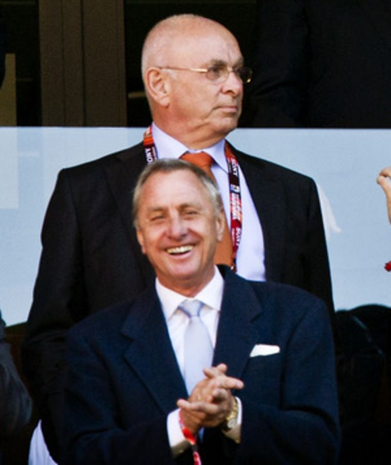 Van Praag (boven) met Johan Cruijff. Beeld ANP