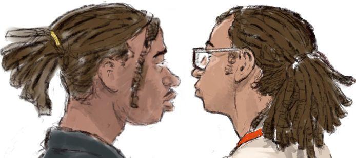 Rechtbanktekening van Darrel L. (links) en Roan W., die worden verdacht van de dodelijke steekpartij bij de Pier in Scheveningen.