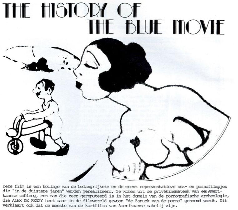 Een poster voor 'The History of the Blue Movie', een pornocompilatie die in beslag werd genomen door het parket van de stad Gent. Beeld Paya Germonprez