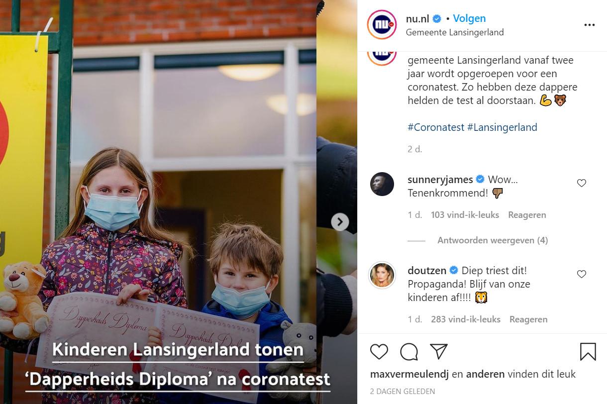 Doutzen Kroes en haar man Sunnery James uiten hun ongenoegen op een bericht van NU.nl
