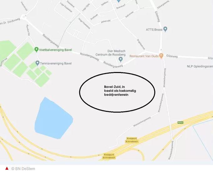Locatie waar het bedrijvenpark Bavel-Zuid staat ingetekend.