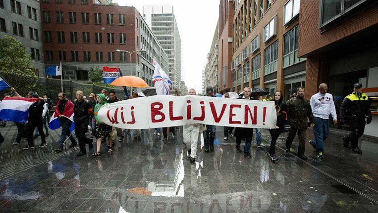 Demonstratie in de Haagse Schilderswijk op 10 augustus. Beeld anp