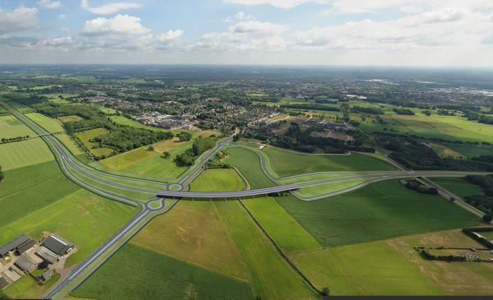 Een impressie van de brug over de Keersop bij Dommelen en de aansluiting op de N397,  zoals die eerder ruwweg zijn ingetekend. Boskalis is nu bezig met het voorlopige ontwerp.