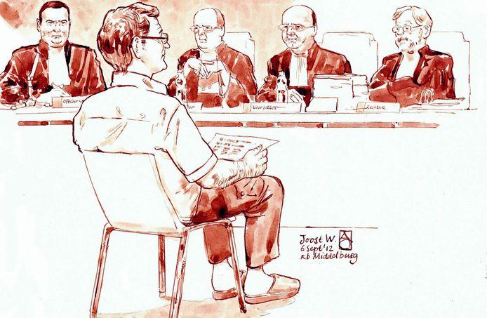 J.W. tijdens de behandeling van zijn zaak in de rechtbank, acht jaar geleden.