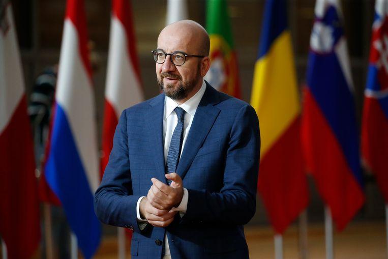Charles Michel (MR) op de EU-top in Brussel. Beeld EPA
