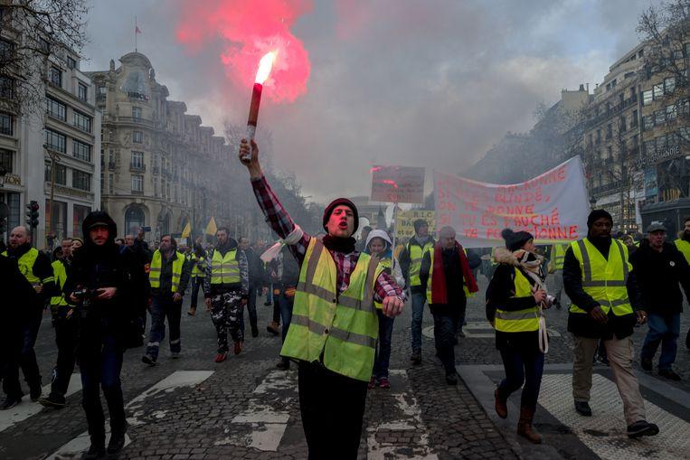 Parijs: Maandenlang demonstreerde de gelehesjesbeweging tegen de hervormingspolitiek van president Macron, 9 februari 2019. Beeld Getty Images