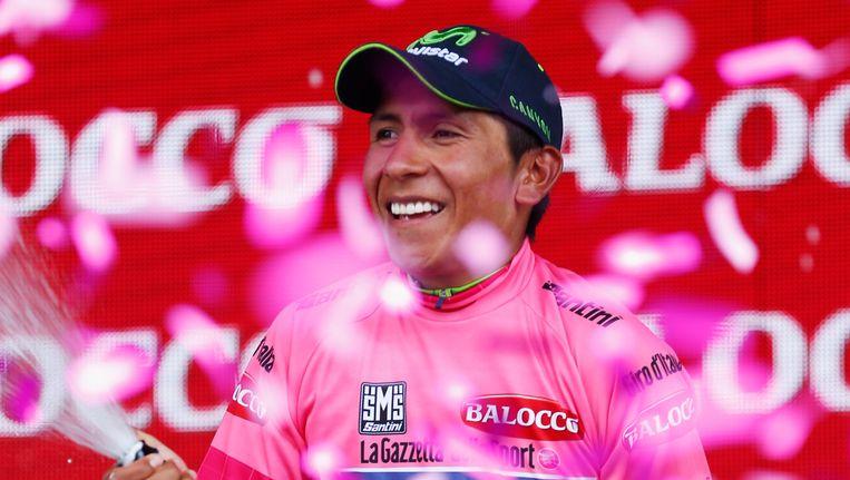 Nairo Quintana nam in de klimtijdrit het laatste greintje hoop weg bij zijn concurrenten. De kopman van Team Movistar moet nu enkel nog de Monte Zoncolan overleven. Beeld GETTY