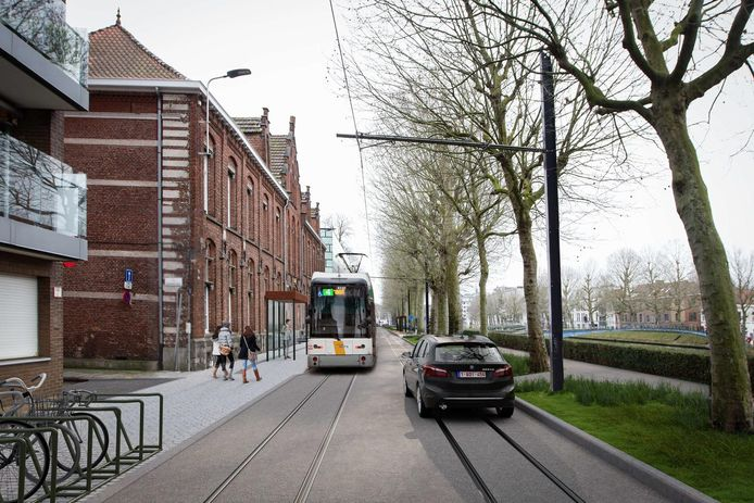 Een toekomstbeeld van de Coupure Rechts ter hoogte van het kruispunt met Rasphuisstraat.