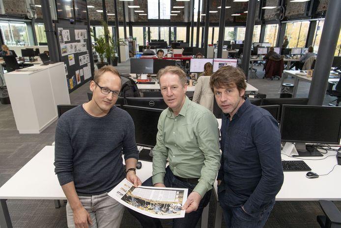 Het project Het Schone Oosten: Judah Bolink (links) , Niek Opten en Leo van Raaij (midden) kijken wat vervuiling is en wat het betekent voor ons.