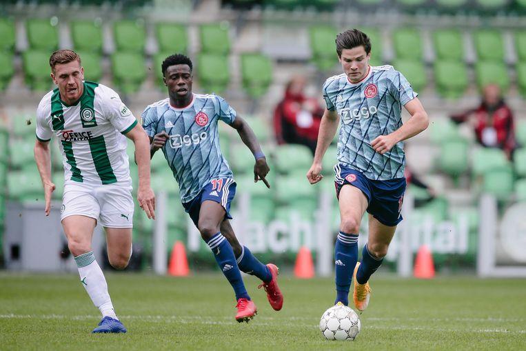 Wedstrijdbeeld van Ajax tegen FC Groningen.  Beeld BSR Agency