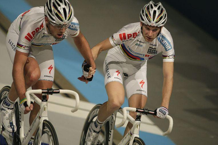 De Deense baanrenners Michael Morkov (r) en Alex Rasmussen (l) (ANP) Beeld