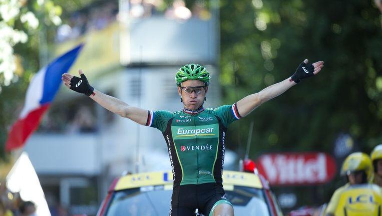Thomas Voeckler wint de zestiende etappe in de Tour. Beeld afp