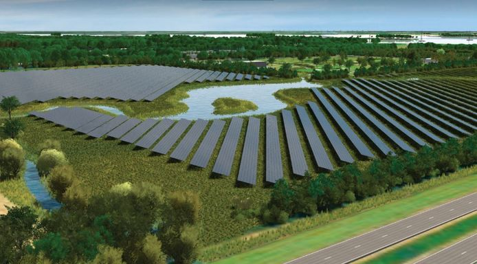 Impressie van het zonnepark op de plek van de 18-holes golfbaan tussen Harderwijk en Zeewolde.