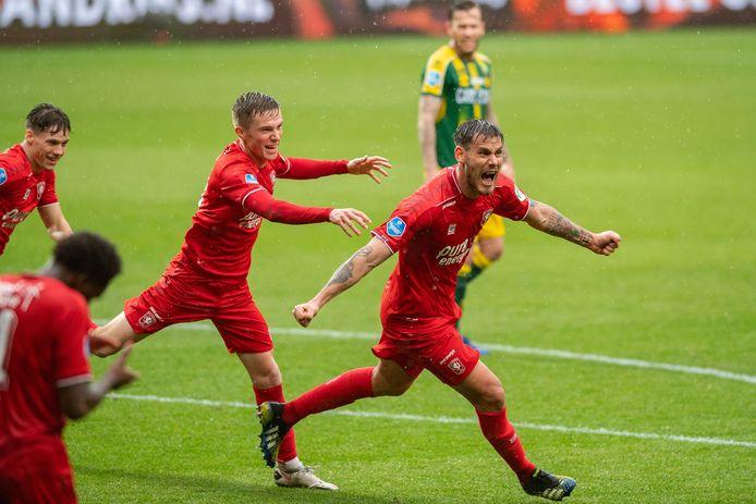 ENSCHEDE, Stadium Grolsch Veste, 16-05-2021 , season 2020 / 2021 , Dutch Eredivisie.   FC Twente player Daan Rots, FC Twente player Dario Dumic scores winning 3-2 during the match Twente - ADO