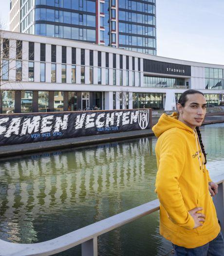 Zoon van oud FC Twente-speler maakte levensgroot graffitikunstwerk voor Heracles in aanloop naar derby: 'Direct een hartje en een duimpje'