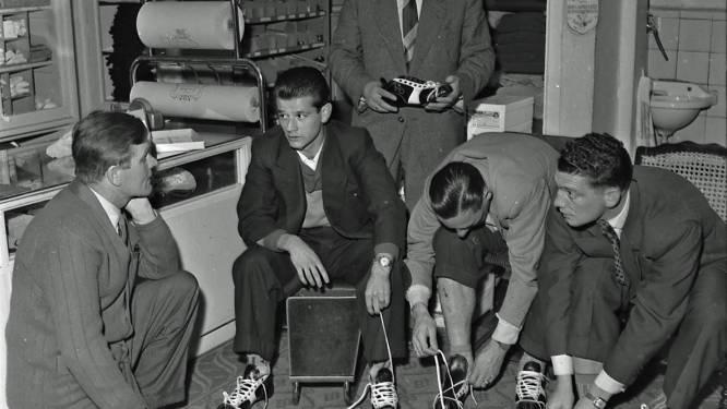 Wie ging er in 1956 schoenen passen bij sportwinkel Van Kooijk in Eindhoven?