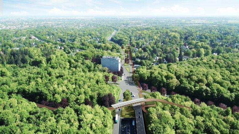 Simulatiebeeld. Op het Vierarmenkruispunt wordt een fietsbrug aangelegd en  de Brusselsesteenweg en de Jagerslaan worden geknipt.