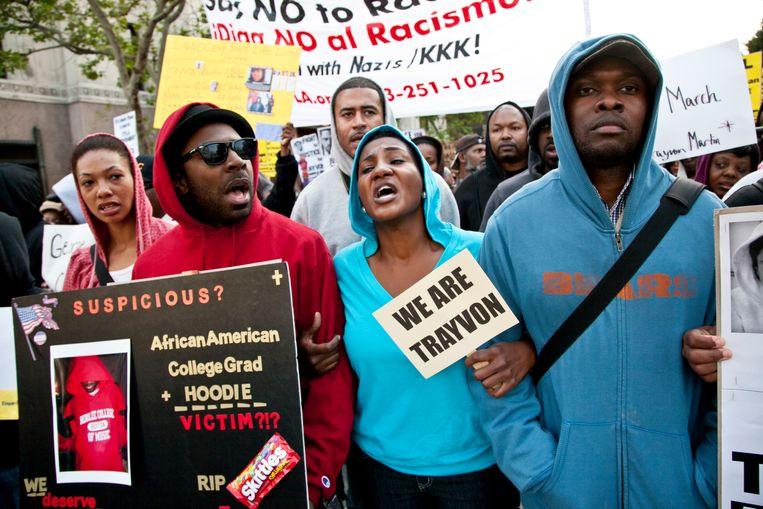 De Million Hoodies March in Los Angeles in 2012, uit woede over de dood van de tiener Trayvon Martin.  Beeld Getty