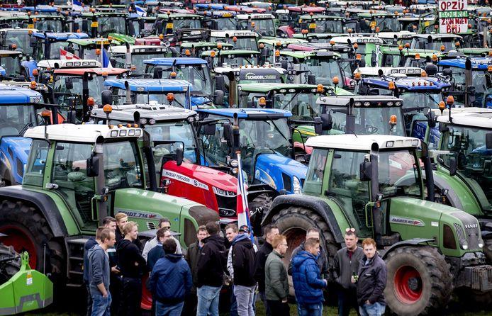 Boeren op het Malieveld in Den Haag.