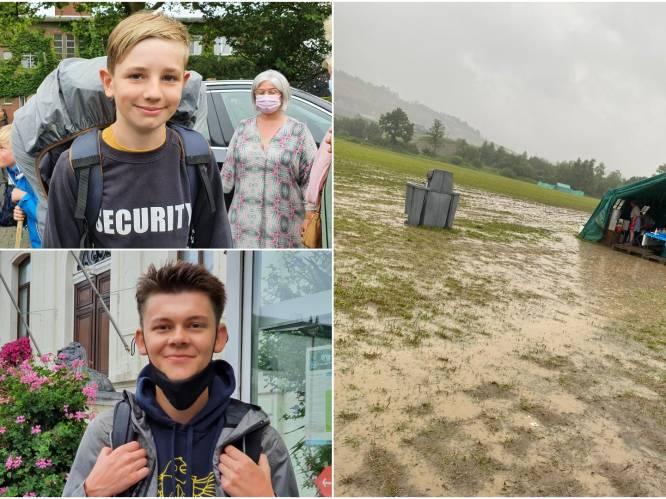 """Scouts Heuvel keren dag vroeger terug van kamp: """"We konden echt niet blijven, het water stond centimeters hoog"""""""