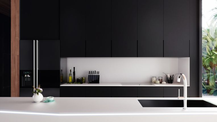 modern kitchen interior 3D rendering, detailed frontal view, 3D rendering Beeld Getty Images/iStockphoto