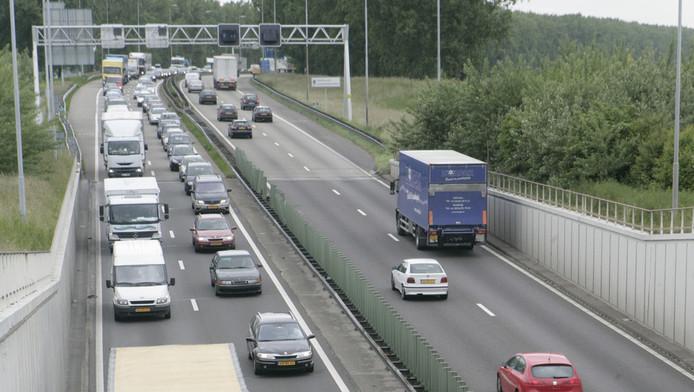 File op de A44 van Amsterdam naar Den Haag.